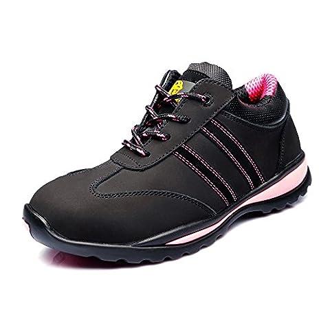 Women's Cow Leather Running Lightweight Steel Toe Training Work Shoe JACKBAGGIO 8820 (10 UK/ 41 EU, Black)