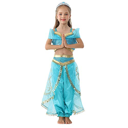 nihiug Prinzessin Rock Jasmin Prinzessin Kleid Aladdin Halloween kostüm Aladdin Lampe bühnenkostüm Halloween Cosplay,Blue-120cm