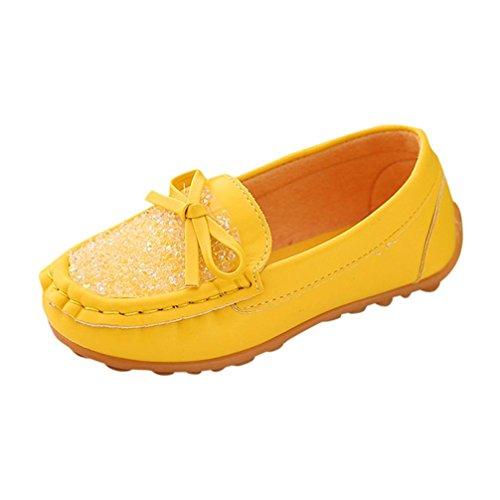 Mädchen Mokassin Prinzessin Casual Schuhe Kleinkind Kinder Sneaker Loafer (28, Gelb) ()