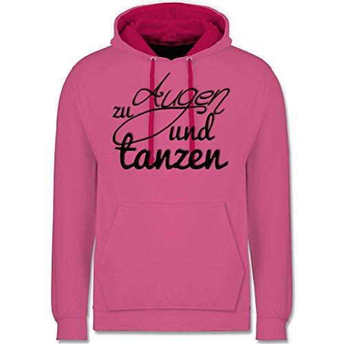 Statement Shirts - Augen zu und tanzen Typo - Kontrast Hoodie Rosa/Fuchsia
