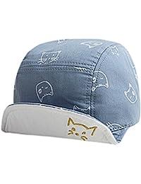 LANGZHEN - Sombrero Caliente de Ninos para Invierno Otoño Gorro Azul  Gruesos Bebes con Dibujos de 04f24a38922
