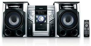 Philips FWM387 Mini-chaîne CD Lecture mp3 / WMA CD-R RW 1240W RMS Cassette maxsound USB direct 3 Disques Platine