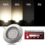 5x Faretti GU10 LED ad incasso orientabili,apparecchio da incasso a incasso 6W 550lm Equivalente a 75W Lampada 80RA 2800k 120 ° Illuminazione Lampada dimmerabile 30 ° girevole Metallo tondo IP20 230V