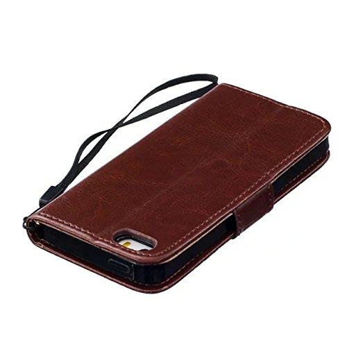 iPhone Case Cover Hochwertige Premium PU-Leder-Kasten-Abdeckungs-feste Farben-Löwenzahn-prägenmappe-Standplatz-Fall-Abdeckung für IPhone 5 5S SE ( Color : Gold , Size : IPhone 5S SE ) Brown