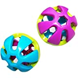 2Kunststoff Bell Ball Spielzeug für kleine Vögel Papagei Sittich Wellensittich Nymphensittiche Kaninchen Hamster–ramdom Farbe