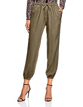 oodji Ultra Mujer Pantalones Ligeros de Viscosa con Cintura Elástica