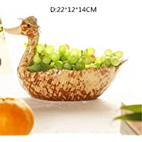 PORCN Idyllisches Entenstrohhuthuhn keramische dekorative Platte des dekorativen Topfhandwerksfigurengartenmikrolandschaftshauptdekorationen, D