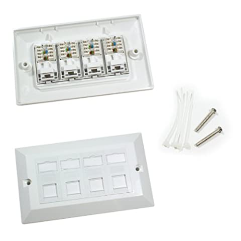 Quad CAT6 Data Wall Outlet Face Plate - 4 Port RJ45 Ethernet Network Data Socket - CableFinder