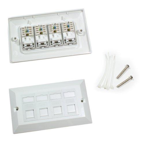 Viererkabel-CAT6-Wand-Netzsteckdose von Cablefinder, Datenanschlussdose für 4Ports, RJ45-Ethernet-Netzwerk, 3 Stück - Cat6 Quad