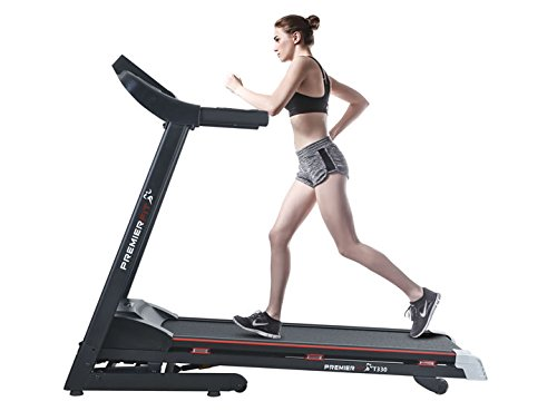 41XOZclfXPL - PremierFit T330 - Motorised Electric Treadmill/Folding Running Machine with 20-Level Automatic Incline - Heart Rate Monitor, AUX/USB/SD Inputs and Speakers - 4.5HP Motor