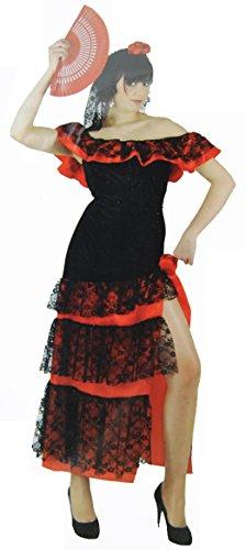 Damen Flamenco-Kostüm Frau-Tanz-Verkleidung Gr. 40/42 Seniorita Ball-Kleid Dance Costume Lady Karneval Fasching Halloween Spanisch Mexikanisch