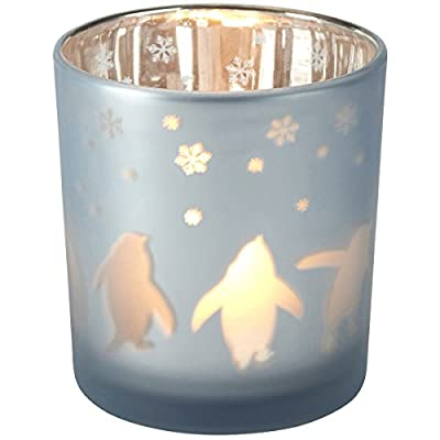Frosted Glass Tea Light Holder Christmas Penguin Snowflake Design Candle Votive by Homes on Trend