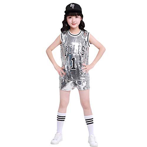 LOLANTA Kinder Pailletten Jazz Tap Dancewear Outfit Top & Shorts Hip Hop Modern Dance Kostüm (Tap Dance Kostüme Kinder)
