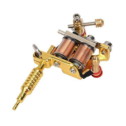 Casting Technology Unisex Gold & Silber 8 Warps Spulen GS100 Fashion Mini Gun Tattoo Maschine Anhänger Spielzeug mit Kette Gold Silber - Gold -