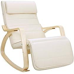 Songmics LYY10M Sedia a dondolo con Poggia gambe di angolo regolabile a 5 gradi Carico Massimo 150 kg beige