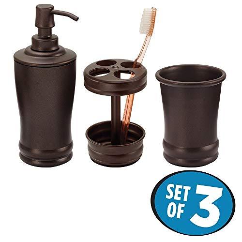 mDesign modernes 3er-Set Badaccessoires – Bad-Accessoires-Set, bestehend aus Seifenspender, Zahnbürstenhalter und Zahnputzbecher – Badezimmer Set aus robustem Metall – bronze
