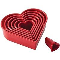 Cake Boss Nylon Baking Cutters Set - Heart Shape, 7-Piece, Red