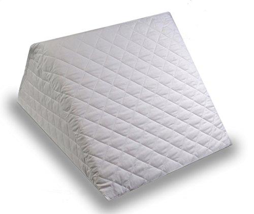 Cuscino a cuneo ad angolo in schiuma per il letto, con copertura trapuntata smontabile e lavabile - cuscino multifunzione per schienale, collo, sostegno al piedino, propagazione e aiuto con riflusso acido - ideale per lettura e rilassamento - da proheeder, fatto in portogallo