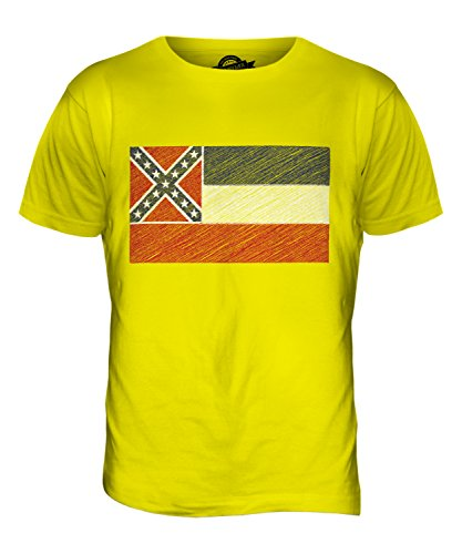 CandyMix Bundesstaat Mississippi Kritzelte Flagge Herren T Shirt Zitronengelb