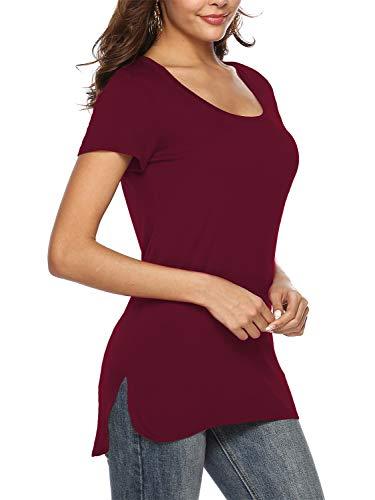 Beluring Damen Sommer Basic T-Shirt Loose-Fit Rundhals Kurzarm Einfarbig, Weinrot L (T-shirts Braune)