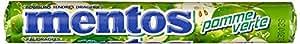 Mentos Grüner Apfel Dragees | Apfel Geschmack süß sauer | Karton mit 40 Rollen Bonbons | Multipack Kaubonbons