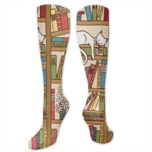 Cvdgsad nerd book lover kitty sleeping over libreria in libreria donna e uomo calze dress socks lunghezza 19.7in / larghezza 3.4in poliestere