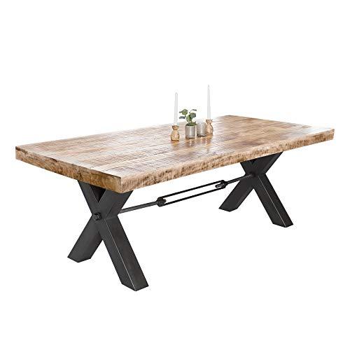 Massivholz Tisch (Massiver Esstisch Iron Craft Eisen Massivholz Komposition 200cm Industrial Design Holztisch Küchentisch)