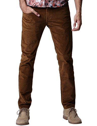 Match Herren Slim-Tapered Flat-Front Casual Kord Hose #8052 8052 Braun