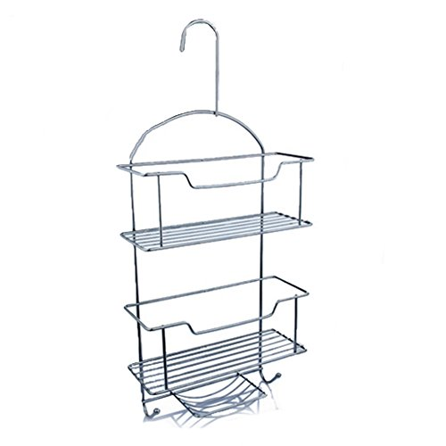 WENZHE Bathroom Shelf Rack Washroom Shower Wall Mounted Corner Hanging Basket Washing Products Soap Bar Shampoo Storage High Capacity, Wrought Iron, 3 layers, 27x57cm Storage Towel Stands Rings
