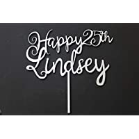 Happy Age and Name Cake Topper 22cm Square Birthday Party 18th, 21st, 30th, 90th Any Age Solid Wood Luxury Premium Topper Keepsake