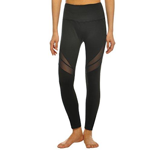 2-Fitness-Frauen-Damen-Lang-Strumpfhose-mit-Mesh-Groe-Yards-Yoga-Leggings-Schwarz-XL