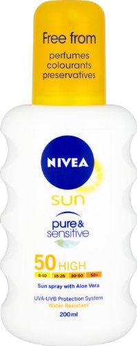 Nivea sun Pure and sensitive Sun spray alta SPF 50–200ml
