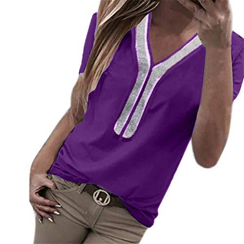 Kviklo Damen Plus Size T-Shirt Pailletten Kurzarm V-Ausschnitt Tops Kostüm Bluse Oversize(S(36),Violett)