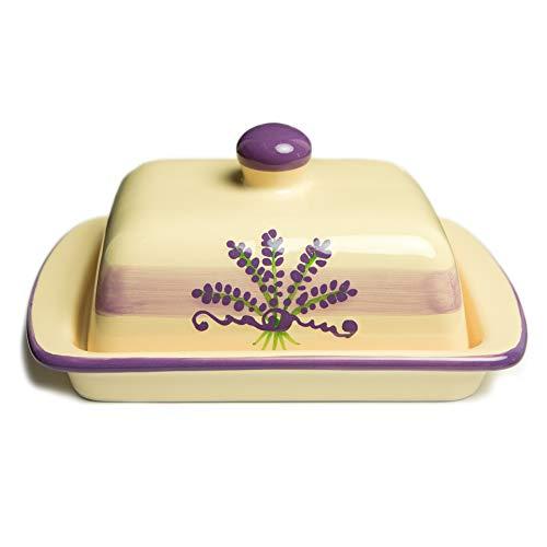 City to Cottage Beurrier beige à motif lavande en céramique fait et peint à la main