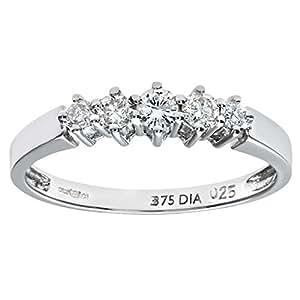 Naava Women's 9 ct White Gold 0.25 ct Diamond Graduated Eternity Ring, White Gold, J