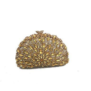 BSF Frauen Vintage Clutches Abendtaschen Covered mit Grade ein Glas Stein Gold