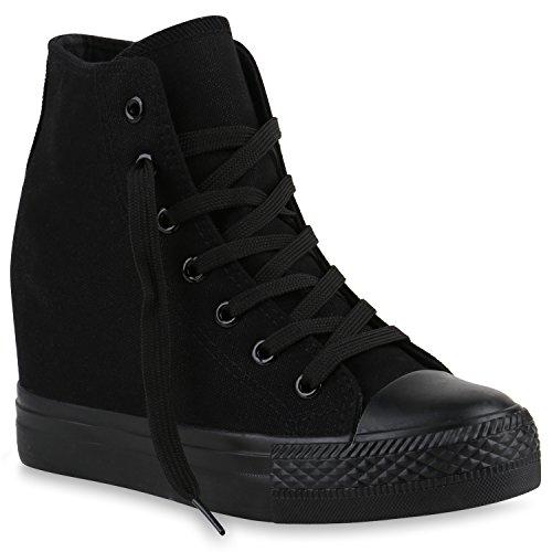 Damen Sneakers Stoff Sneaker Wedges Blumen Camouflage Sneaker Keilabsatz Details Zipper Denim Schuhe 139852 Schwarz Total 37 Flandell