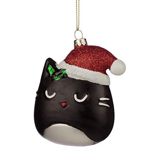 Puckator feline - palla di natale con testa di gatto, in vetro