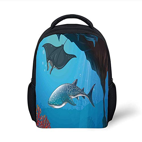 Kids School Backpack Sea Animal Decor,Shark Deep Water Stingray Coral Reefs Algae Rocky Cave Exotic Cartoon,Blue Grey Plain Bookbag Travel Daypack -
