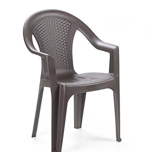Multistore 2002 Stacking Chair Rattan Look Garden Patio Balcony Furniture Plastic Mocha