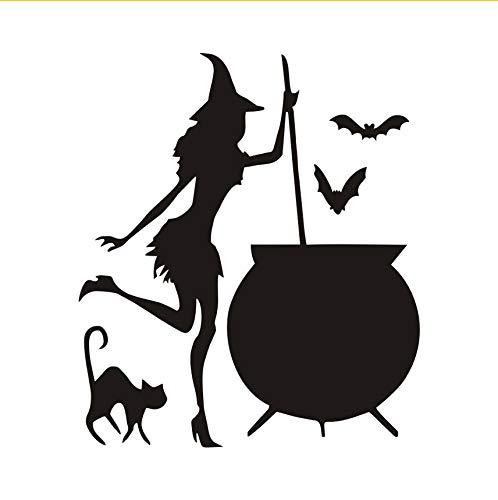 HexeWandaufkleber Halloween Cauldron Potion Fledermäuse Schwarze Katze Adhesive Wandaufkleber Wand-dekor Wandtattoos Dekoration44X38Cm
