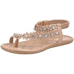 Damen Sommer Schuhe,Xinan Frauen-Sommer-Böhmen-Blumen-Korn Flip-Flop-Schuhe Flache Sandalen (36, Khaki)