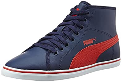Puma Men's Elsu V2 Mid Sl Idp Peacoat and High Risk Red Sneakers - 6 UK/India (39 EU)
