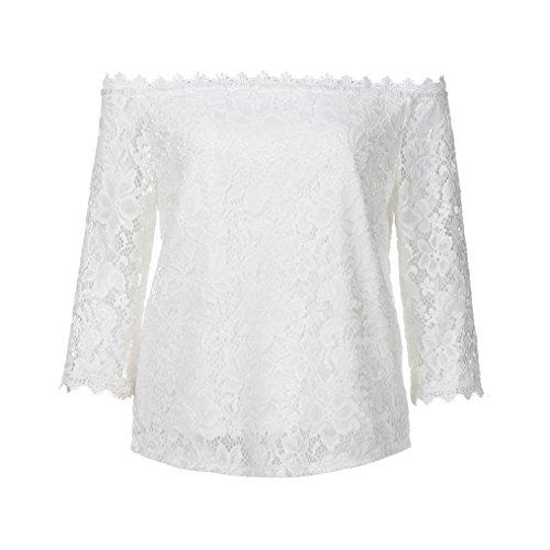 Blusen & Tuniken für Damen,Traumzimmer Tops Blouse Frauen Meine Schulter Ab Spitzen Kurze äRmel Boot Hals - T - Shirt - Bluse (Weiß, L) - Schulter-boot