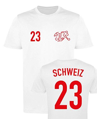 WM EM Trikot - Schweiz 23 - Herren T-Shirt - Weiss/Rot Gr. XL
