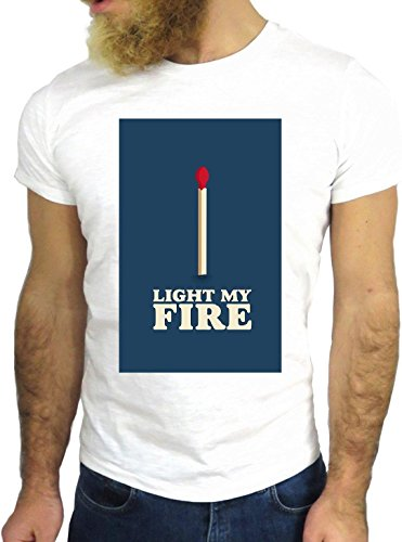 T SHIRT JODE Z1559 LIGHT MY FIRE MATCHSTICK MUSIC AMERICA VINTAGE FASHION COOL GGG24 BIANCA - WHITE
