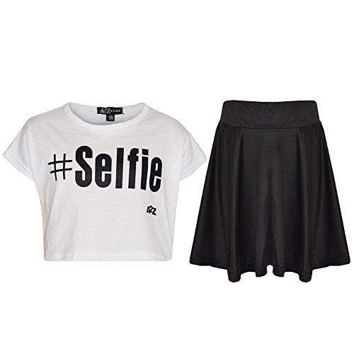 A2Z 4 Kids® Kinder Mädchen Top & Rock Satz - A2Z Selfie White Top & Rock Satz ()