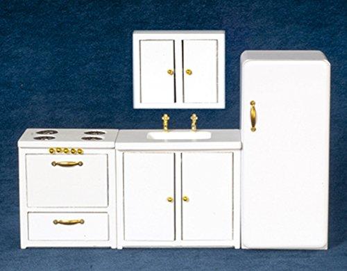 Casa Delle Bambole Bianco 4 Pezzi Cucina In Legno Set Di Mobili Miniatura 1:12 Scala