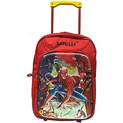 Batu Lee Spiderman 18 inch Red Waterproof Trolley Hybrid Children's Backpack