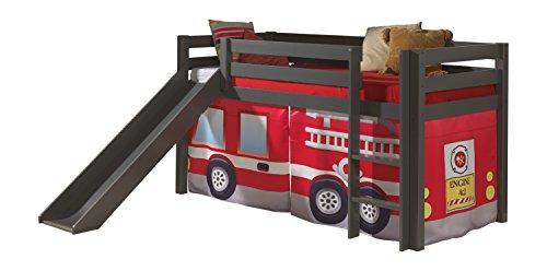 Vipack PINO LIT Mezzanine avec Toboggan ET Housse Fire Rescue Taupe, Pin Massif